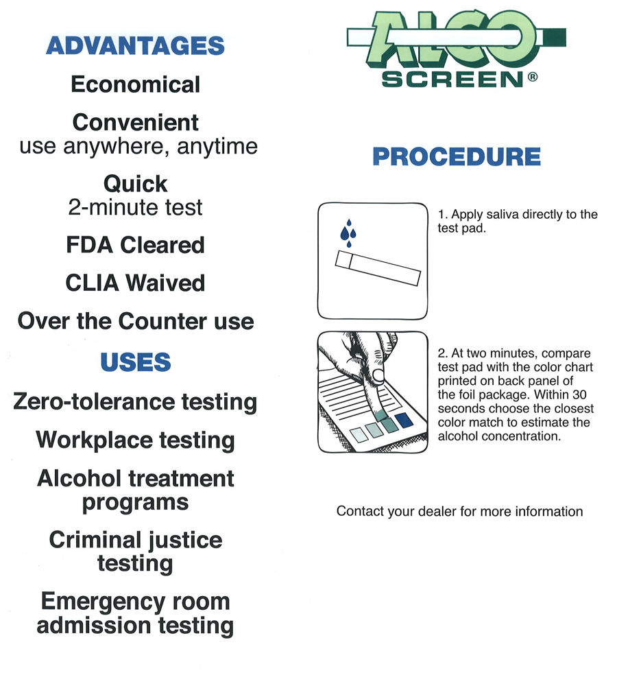 Alco Screen Saliva Alcohol Test | BlueGrass Drug Screen