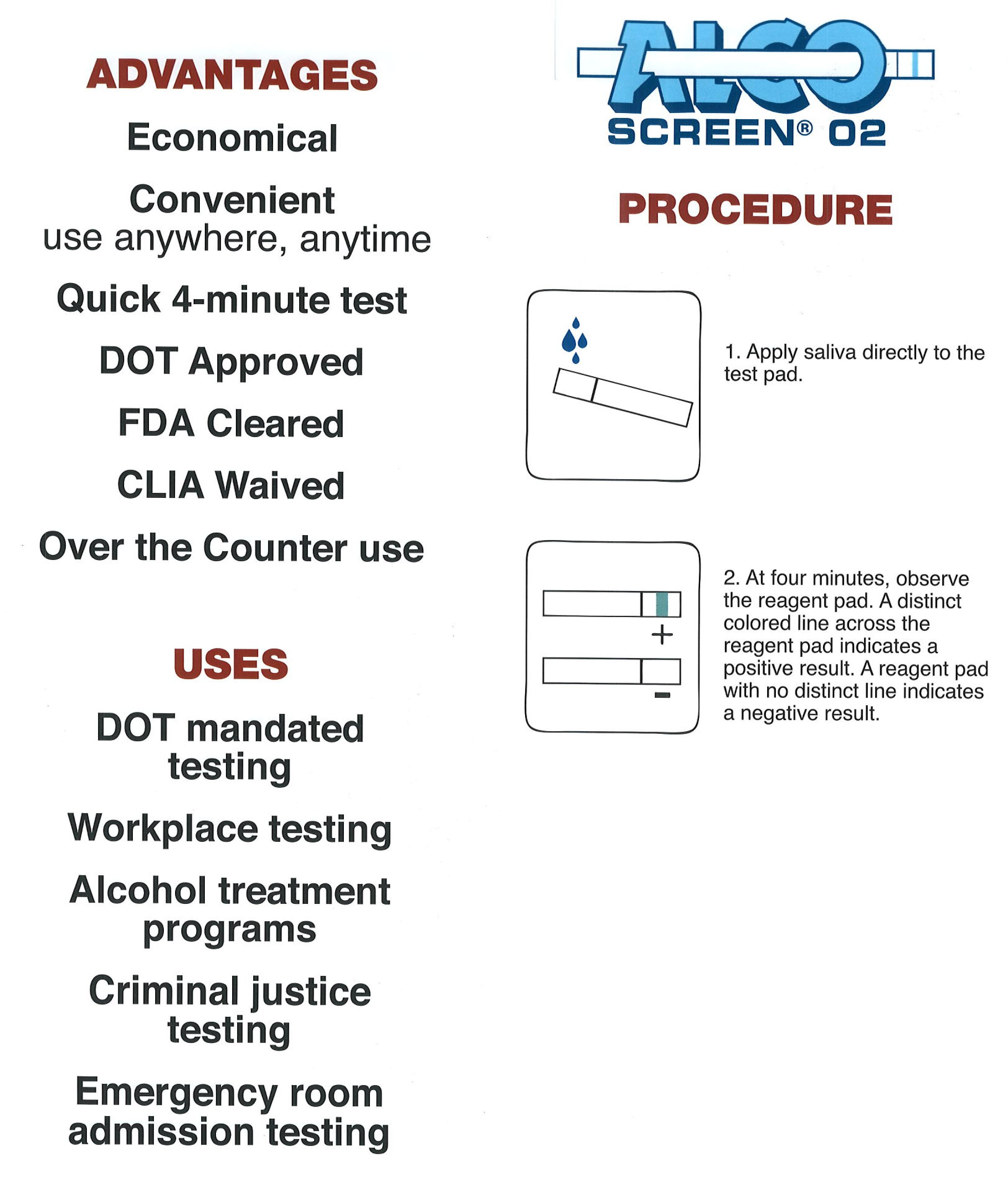 Alcoscreen 02 DOT Alcohol Test | BlueGrass Drug Screen